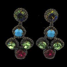 Vintage Sorrelli Austrian Crystal Rhinestone Earrings