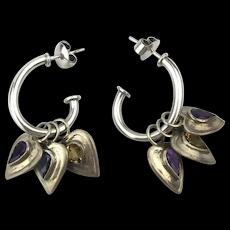 Great Sterling Silver Earrings w / Jeweled Heart Dangles