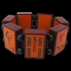 Rare Enrobed Bakelite Mah Jong Stretch Bracelet Two Colors