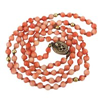 Vintage Long Skinny Angel Skin Coral Bead Necklace Silver Clasp