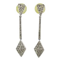 Vintage PANETTA Long Rhinestone Deco Style Earrings