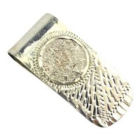 Vintage Mexican Sterling Silver Money Clip Aztec Calendar - Etched