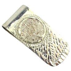 Vintage Mexican Sterling Silver Money Clip Aztec Calendar - Etched