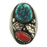 Big Old Navajo Sterling Silver Ring - Turquoise / Red Coral