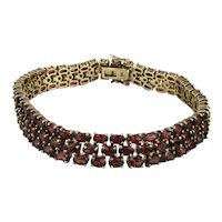 Sterling Silver Red Crystal Rhinestone 3-Row Bracelet