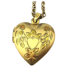 Vintage Etched Gold-Filled Heart Locket Necklace Long GF Chain
