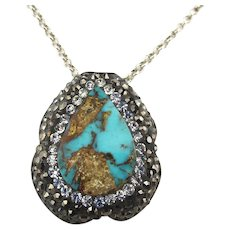 Sterling Silver Drop Pendant Turquoise Marcasite Crystal Necklace
