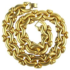 1980s Bold Goldtone Chain Link Necklace by Carlisle