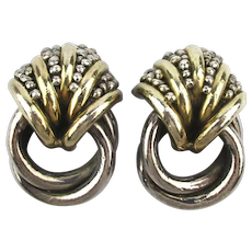 Bold 925 Sterling Silver Earrings Puffy Modernist Clips