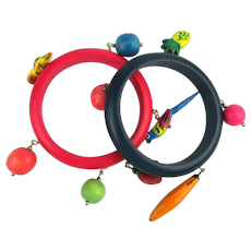 Pair Colorful Vintage Wood Bangle Bracelets w/ Dangle Charms