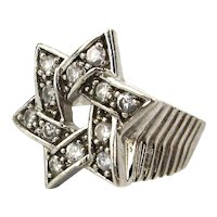 Estate Sterling Silver Judaica Star of David Ring