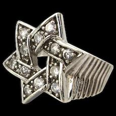 Estate Sterling Silver Judaica Star of David Ring