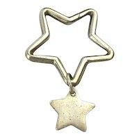 Tiffany & Co. STAR w/ Star Dangle Key Ring Sterling Silver