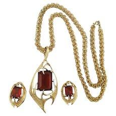 Modernist Sarah Cov Pendant Necklace Earrings Set