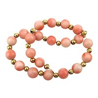 Sweet Angel Skin Coral 14K Gold Bead Bracelet