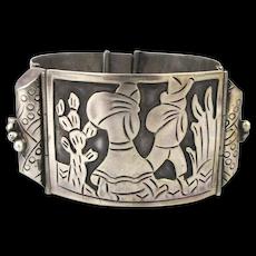 Signed Mexican Sterling Silver Story Teller Link Bracelet