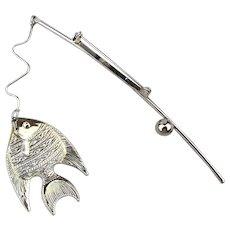 Great Catch Fishing Pole Pin Brooch w/ Fish