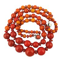 French Apple Coral Color Two Strand Bead Necklace
