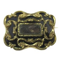 Victorian Gilded Enamel Mourning Pin Brooch w/ Lock of Hair