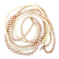 Estate Triple Strand of Real Pearls w/ 14K Gold Clasp