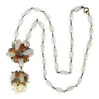Vintage Hattie Carnegie Beaded Crystal Drop Necklace