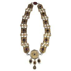 Big Old TURKMEN Sterling Silver Gilt Necklace w/ Carnelian Stones