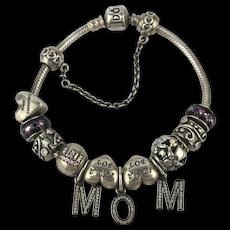 Vintage PANDORA Sterling Silver Sliding Charm Bracelet MOM