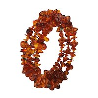 Vintage Genuine Baltic AMBER Bead Choker Necklace 3 Strands