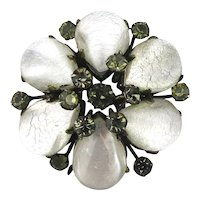 Art Deco Depose French Poured Glass Crystal Clip Brooch Pin