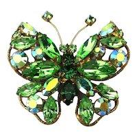 Brilliant Signed REGENCY Butterfly Rhinestone Pin Brooch