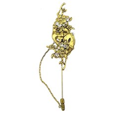 Signed LAGGIA Venice Jeweled Masks Stick Pin Gilded Crystal