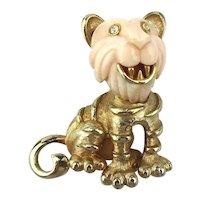 Vintage Lucite Goldtone Smiling LION Cub Pin Brooch
