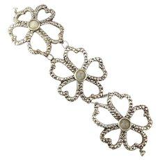 Oversized Sterling Silver Bracelet Open Puffy Flowers