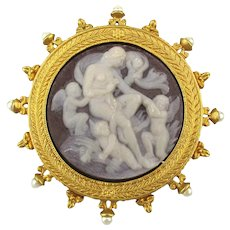 Smithsonian Cameo Style Pin Brooch Angels Lady Gilt Frame for Avon