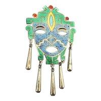 Taxco CASTELAN Sterling Silver Enamel Face Mask Pin Pendant