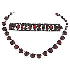 Vintage Red Glass in Black Metal Necklace Bracelet Set Demi