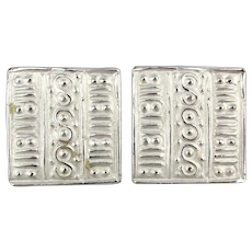 Modernist GIVENCHY Paris New York Clip Earrings Silvery Squares