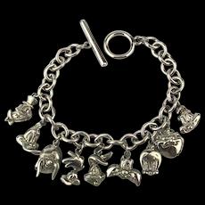 Vintage WARNER BROS. Comic Character Charm Bracelet W.B.
