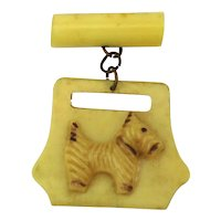 SOLD TO C.C. - Vintage 1930s Celluloid SCOTTIE Dog Pin