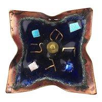 Large Spinning Dreidel Judaica Enamel on Copper Metal Art