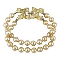 Kenneth J. Lane Two Strand Faux Pearl Bracelet w/ Rhinestone Clasp