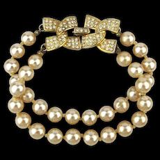Kenneth J. Lane Two Strand Faux Pearl Bracelet w/ Rhinestone Clasp