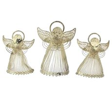 Set of 3 Sterling Silver 990 Wire Angels Figurines Ornaments