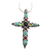 Sterling Silver Cross w/ Pretty Gems Pendant Necklace