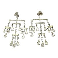 Vintage Rhinestone Chandelier Clip Earrings Dangling Mobile