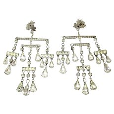 Vintage Rhinestone Chandelier Clip Earrings Dangling Mobile
