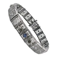 Art Deco Filigree Rhodium Plated Bracelet Signed