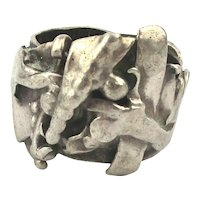 Great Ugly Brutalist Sterling Silver Ring Abstract OOAK