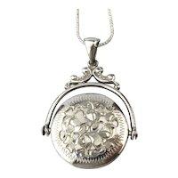 Vintage Sterling Silver Etched Spinning Locket Pendant Necklace