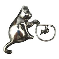Taxco Mexican Pin Sterling Silver Cat Going Fishing